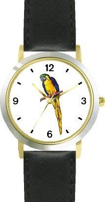 Blue and Yellow Parrot No.1 Bird Animal - WATCHBUDDY® DELUXE TWO-TONE THEME WATCH - Arabic Numbers - Black Leather Strap-Size-Children's Size-Small ( Boy's Size & Girl's Size ) WatchBuddy. $49.95. Save 38% Off!