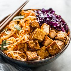 Coconut Stir Fry Noodles with Glazed Tofu- an easy 30-minute meal that's full of flavor! (vegan, gluten free)