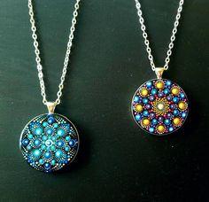 Bleu pendentif Mandala avec collier pendentif taille: | Etsy