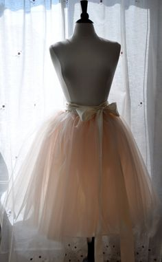 Peachy Dream Tutu - Romantic Ballerina Tulle Skirt with Lining and Satin Sash by Anjou - Whimsical Wedding, Party, Prom, Plus Size. $128.00, via Etsy.