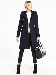 V by VeryMilitary Skater Coat - NavyTap into the season's military mood with a polished finish - this military skater coat makes a chic addition to your fashion frontline. Its structured shoulders and mandarin collar create a sharp, structured look, while double breasted buttons and buttoned epaulettes add to the luxed-up military feel. Styling Ideas Layer over everything from jeans to dresses for a no-fuss sartorial look. Washing Instructions: Dry Clean OnlyCoats & Jackets Style...