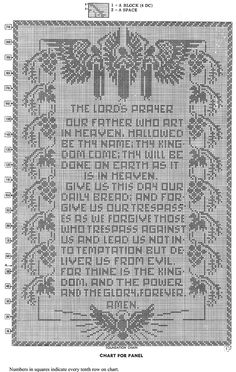 The Lord's Prayer Pattern chart. Free both Protestant and Catholic version. Crochet Deer, Thread Crochet, Crochet Doilies, Crochet Patterns Filet, Vintage Crochet Patterns, Xmas Cross Stitch, Cross Stitch Bookmarks, Cross Stitch Silhouette, Diy Bead Embroidery