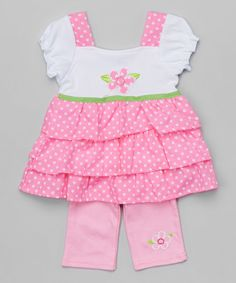 Pink Tiered Tunic & Leggings - Infant & Toddler | zulily