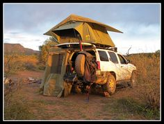 my camping is usually just the tent somewhere next to my X :) This thread makes me want to go camping! Nissan Xterra, Back Road, Go Camping, Picture Video, Moose, 4x4, Tent, Motorcycles, To Go