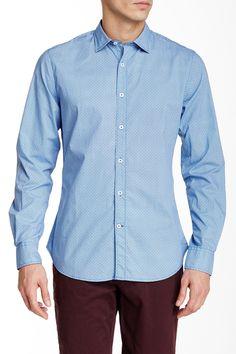 Circle Print Long Sleeve Slim Fit Shirt