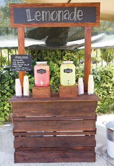 DIY wooden lemonade stand.