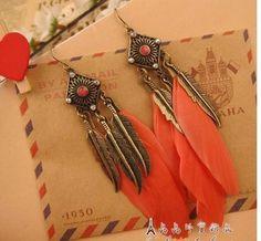 US $1.93 E150   Cheap Jewelry Vintage feather leaves earrings wholesale charms drop long earrings