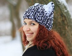 4b8d148ccb7 Black white with snow cat ears slouchy beanie unisex adult Crochet animal  Hat kawaii accessories dog