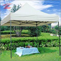 Faltpavillon 3 x 3, aus Polyester mit PVC-Beschichtung, wasserdicht, UV-beständig, pulverbeschichtetes Stahlgestell 3030D-Beige