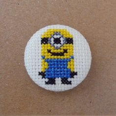 Despicable Me cross stitch 31mm pinback by PetipoaNeedleCraft