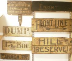 Wooden trench signs, displayed in the Museum of Sanctuary Wood (Ypres, Belgium)