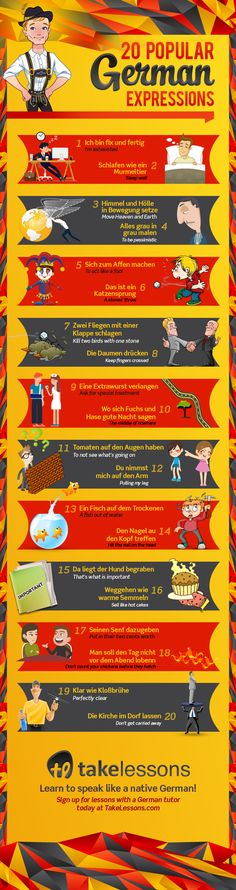 20 Popular German Expressions – And What They Mean [Infographic]: : What are the most common German expressions? Check out this infographic of the 20 most popular German expressions to help you perfect your language skills. German Language Learning, Language Study, Learn A New Language, German Grammar, German Words, German Resources, Deutsch Language, Germany Language, German English
