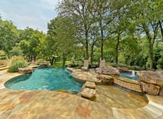 Living Area on the Deck / Patio / Porch - Waterfall / Fountain / Water Feature - Pool / Yard