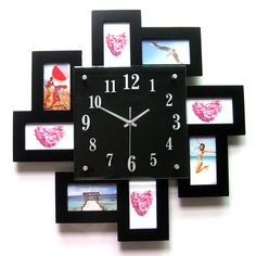 Top Fashion Wooden Photo Frame Wall Clock Decorative Hanging Clock for Baby Room Wedding Room 50*50CM Free Shipping NZ17-in Wall Clocks from Home & Garden on Aliexpress.com