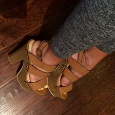 """#153 Tan Wedge Sandals Super comfy Tan sandals. 6"""" heel size 6.5 but runs big more like a 7. Worn once for 20 min indoor. Hot for summer pair with cute jeans and white top  Look Like Jeffrey Campbell Jeffrey Campbell Shoes Wedges"""