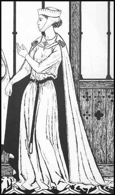 Barbette with Toque - Early Middle Ages. Tunics were tied at the waist, and the sleeves became fitted.