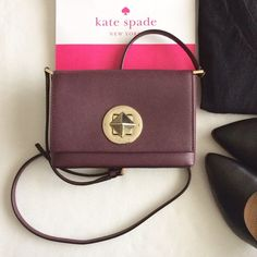 """KSNY Sally shoulder bag crossbody (wine) Authentic Kate Spade Sally Newbury Lane shoulder bag crossbody; mulled wine with gold hardware; measures approx. 7""""w x 5""""h x 1""""d; strap drop 21-23"""" (adjustable); brand new with tags and care card. kate spade Bags Shoulder Bags"""