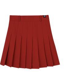 High Waist Pleated Mini Skort (1,050 INR) ❤ liked on Polyvore featuring skirts, mini skirts, high rise skirts, pleated skort, red skort, golf skirts and pleated skirt