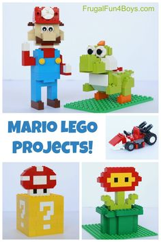 Mario LEGO Projects with Building Instructions!  Mario, Yoshi, Mario Kart, question box with mushroom, fireballs flower.