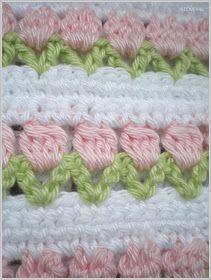 Rows of flower buds crochet Beau Crochet, Crochet Diy, Crochet Girls, Baby Blanket Crochet, Crochet Crafts, Crochet Projects, Diy Crafts, Crochet Borders, Crochet Squares
