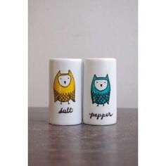 Owl Salt & Pepper Shakers #owl #ceramics #salt #shaker #pepper