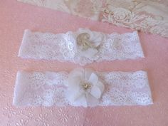 Stretch Lace Chiffon Flower Crystal Monogram by creations4brides, $25.00