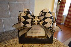Elegant Diamond Ribbon And Rhinestone Fleur de lis frame
