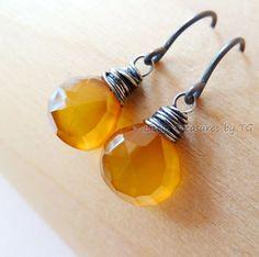 Amber Chalcedony Oxidized silver drop earrings. Dangle by TatianaG, $34.00