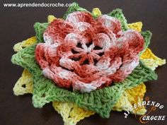 Flor de  Crochê Zinia - Aprendendo Crochê
