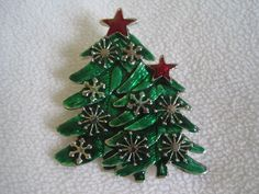 MJ Signed Christmas Trees Pin Pendant Enamel Silvertone Made in China
