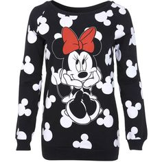Miss Selfridge Minnie Mouse Sweat ($18) ❤ liked on Polyvore featuring tops, hoodies, sweatshirts, sweaters, shirts, blusas, black, print top, patterned tops and print shirts