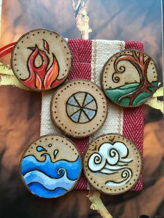 Wooden Element Set & Red/Cream POUCH. Hand Crafted Elemental Altar Charms Pagan