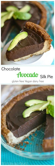 Healthy Chocolate Silk Pie - Decadent chocolate and avocado blended to a silky pie, no added fat or sugar. #vegan #glutenfree #dairyfree