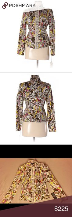 ETCETERA Jacket. NEW! Absolutely Beautiful! Etcetera paisley jacket. Mandarin  collar with oversized silver hook eye closure all the way down the front. Very nicely tailored to flatter the female form. Small pockets on the front. Thin shoulder pads. Brand new with tag! Needs a loving new home. From a smoke and pet free very clean home. 97% Cotton 3% Spandex. Size 6. Make me an offer :) Etcetera Jackets & Coats Blazers