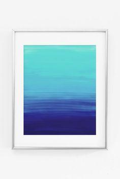 Ocean Ombre Mint Navy Blue Gradient Painted Printable Print