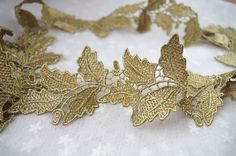 metiallic Gold lace trim with grace leaves by WeddingbySophie