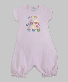 Look at this Truffles Ruffles Pink Birthday Cupcakes Romper - Infant on #zulily today!