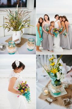 rustic grey and aqua beach wedding