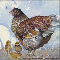 "Hen with Chicks an 8"" X 8"" original painting by @AprilRimpo Perfect for kitchen, child's bedroom, or any place of honor."