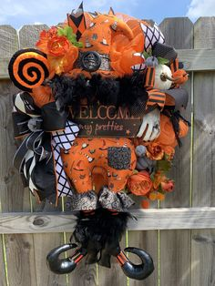 Excited to share this item from my #etsy shop: Halloween Witch Wreath, Designer Fall Halloween Wreath, Holidaze Decor Design, Mesh Halloween Wreath, Luxury Holiday Decor, Pumpkin, Witch #farrisilk #wreathsttachment #halloweenwreath #halloweendecor #witchwreath #customdesign #sewnwitchwreath #homemade #halloweenwitchdecor #holidazedecor #google #instagood #instalike #pumpkins #falldecor #homedecor #holidaydecor #holidaydesigner #wreaths #fall #designerwitchereath #holidaydesigner #holidaydecor # Halloween Witch Wreath, Halloween Mesh Wreaths, Halloween Signs, Holiday Wreaths, Fall Halloween, Halloween Decorations, Halloween 2020, Seasonal Decor, Fall Decor