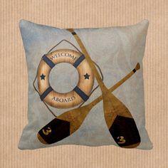 Throw Pillow Sofa Pillow Nautical Oars  Lake House by FolkandFunky
