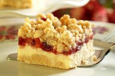 Cranberry cheesecake bars with white chocolate chips.  Recipe from Ocean Spray.  I make these every Thanksgiving.  They are sooo good.
