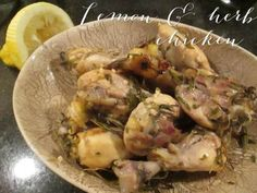 Lemon and herb chicken Lemon Herb Chicken, Potato Salad, Herbs, Treats, Drinks, Ethnic Recipes, Food, Sweet Like Candy, Drinking