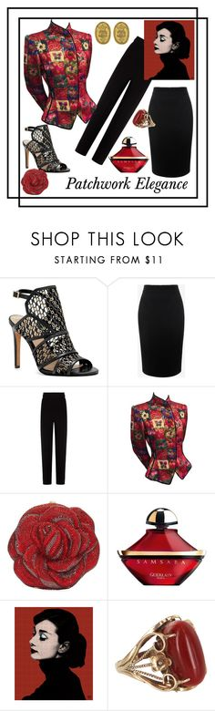 """Patchwork in Red"" by kindlefraud ❤ liked on Polyvore featuring Vince Camuto, Alexander McQueen, Balenciaga, Emanuel Ungaro, Judith Leiber, Guerlain, Vintage, Dark and audrey"