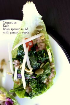 Couscous Salad with Sauteed Greens & Pumpkin Seeds