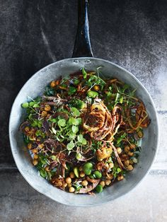 slow-roasted sumac lamb salad with rice, broad beans and burnt onion