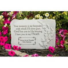 Personalized Memorial Stone with Angel - My Mother Kept A Garden, Cast Stone Cemetary Decorations, Personalized Garden Stones, Memorial Garden Stones, Loss Of Mother, Angel Artwork, Bereavement Gift, Cast Stone, Sympathy Gifts, Mother Gifts
