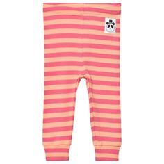 Mini Rodini Stripe Rib Leggings Pink Pink