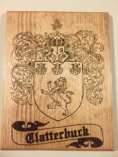 Wood Burned Family Crest Plaques, Coat of Arms Plaques, Family Crests
