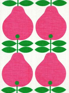 Image of Scandinavian tea towel koloni pink pears 50s vintage era fabric